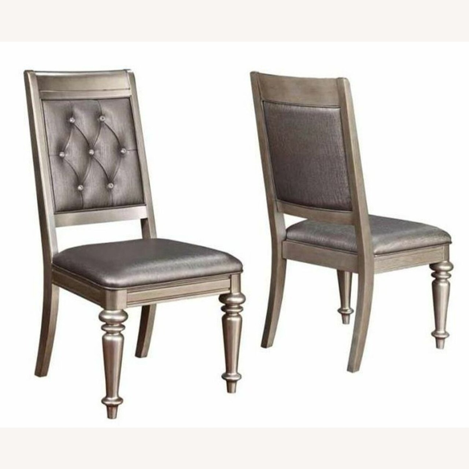 Side Chair In Platinum Metallic Color Leatherette - image-0