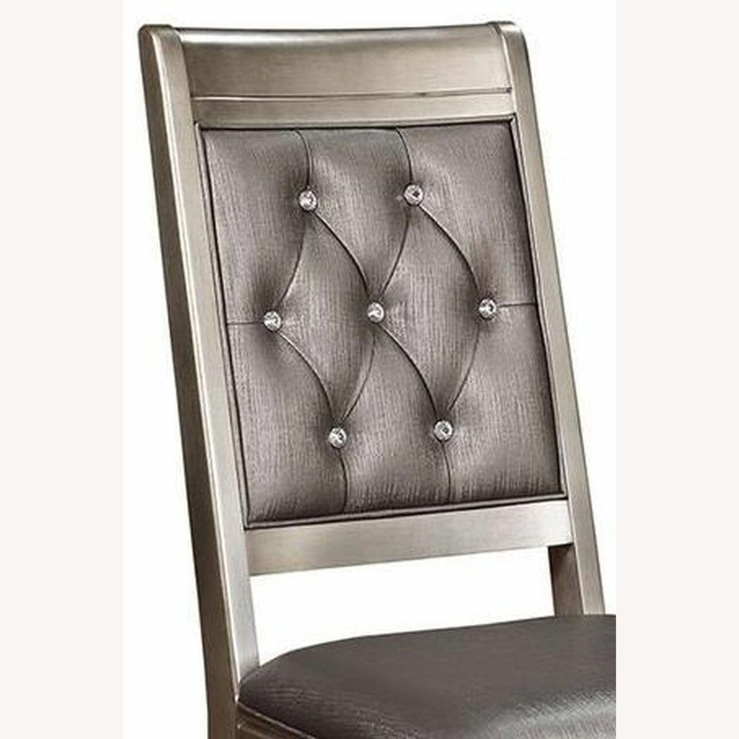 Side Chair In Platinum Metallic Color Leatherette - image-3