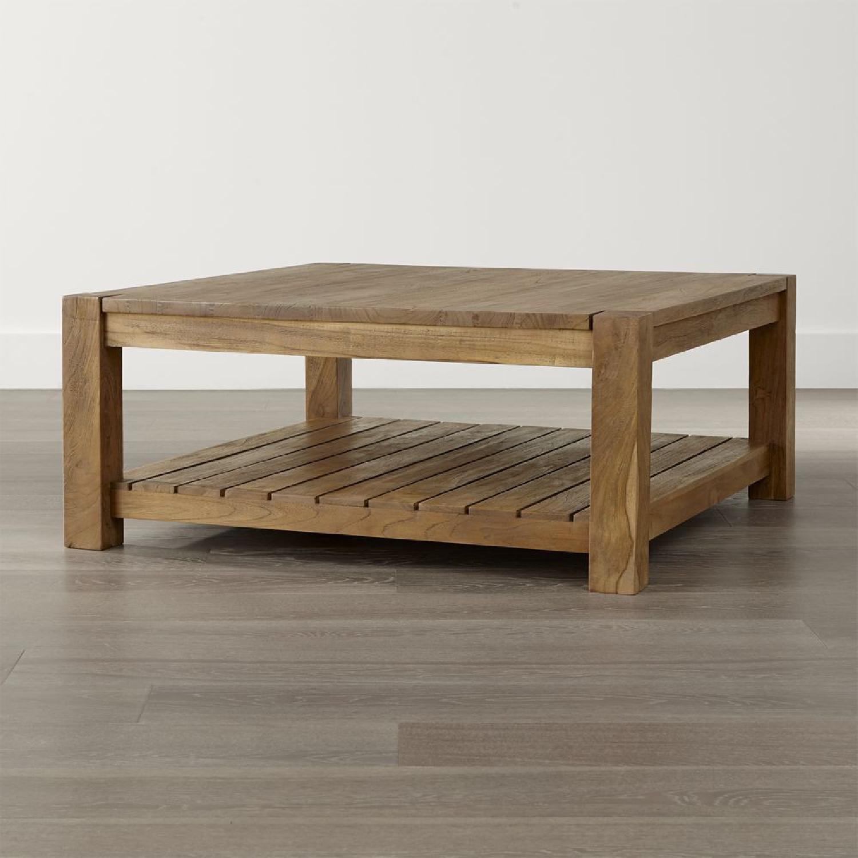 Crate & Barrel Edgewood Teak Coffee Table - image-13