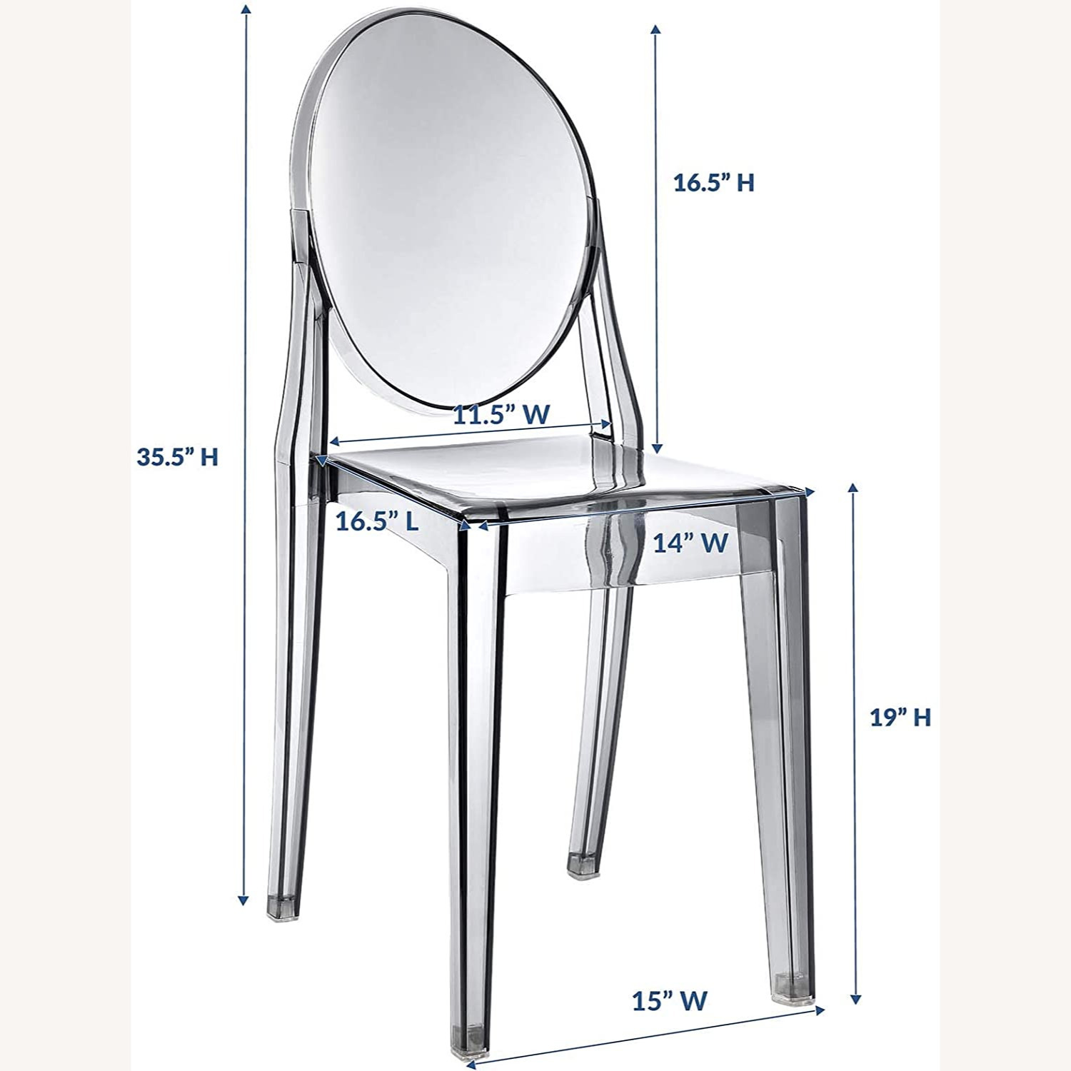 Modway Casper Ghost Dining Chair in Smoke (Set of 4) - image-4