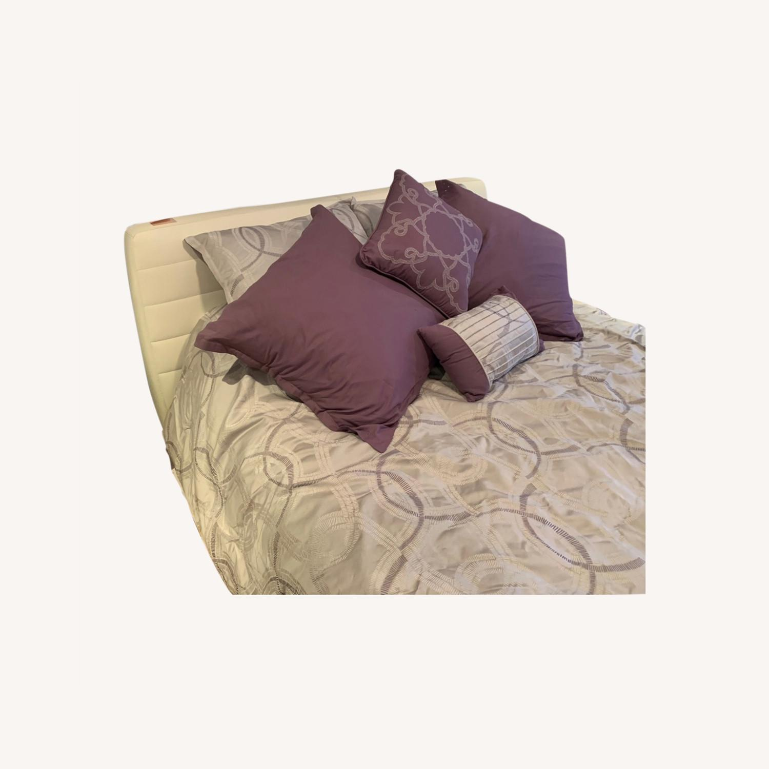 Italian Leather Upholstered Bed - image-0