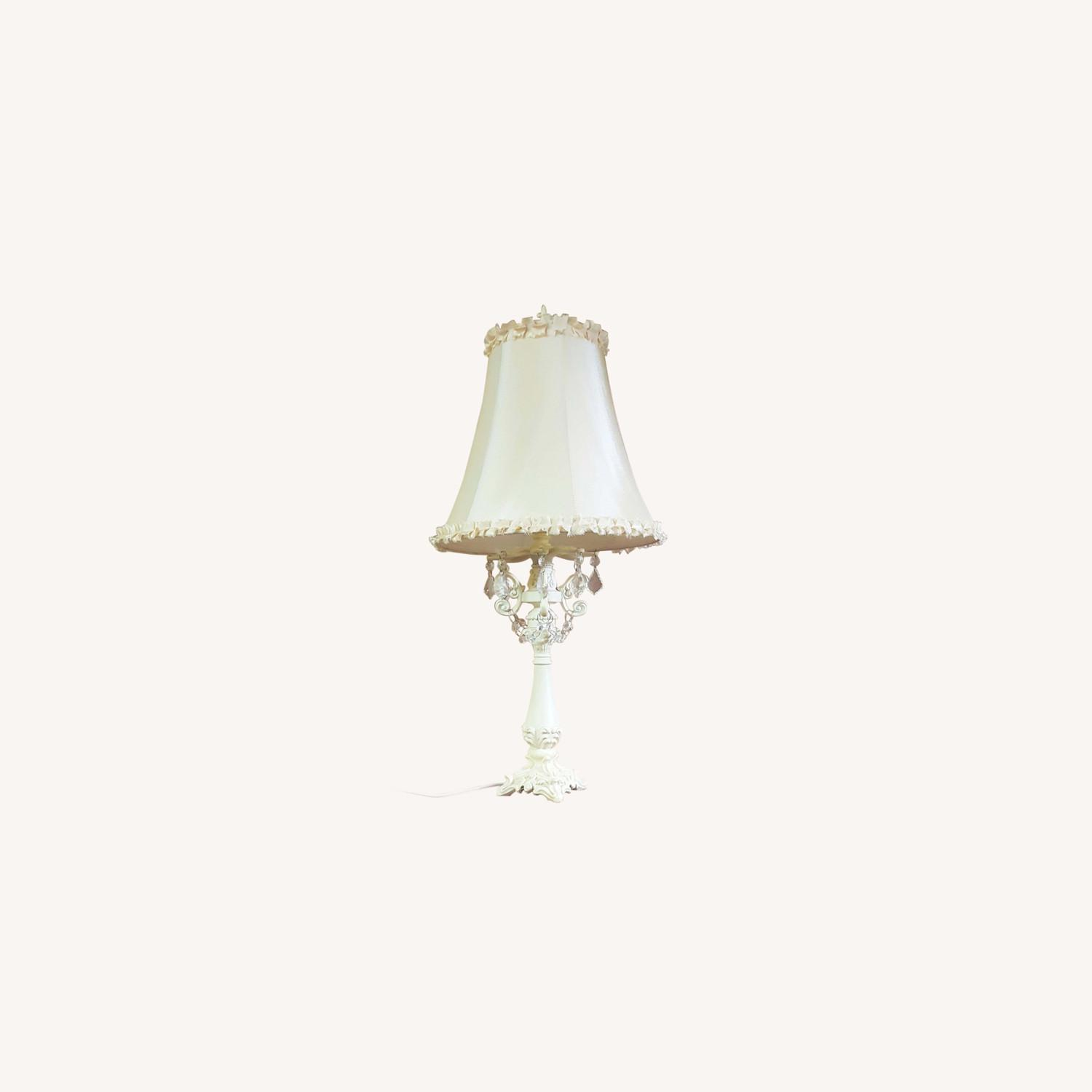 Beige Table Lamp Hand Crafted Base+Crystal Droplet - image-0
