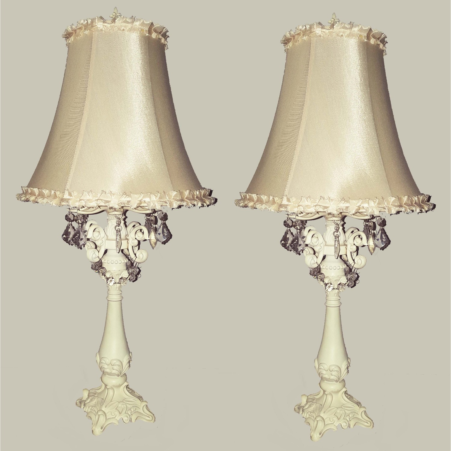 Beige Table Lamp Hand Crafted Base+Crystal Droplet - image-5