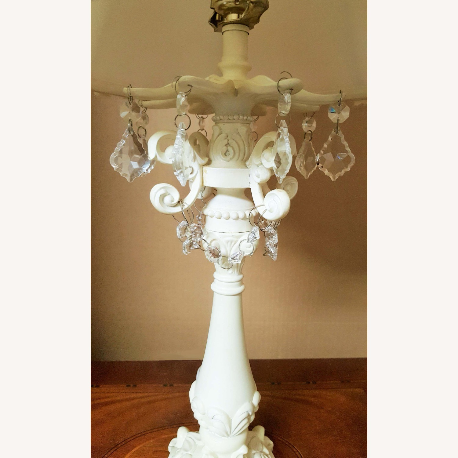 Beige Table Lamp Hand Crafted Base+Crystal Droplet - image-4