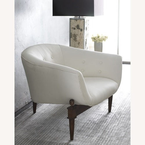 Used Global Views White MIMI leather Scoop Chair for sale on AptDeco