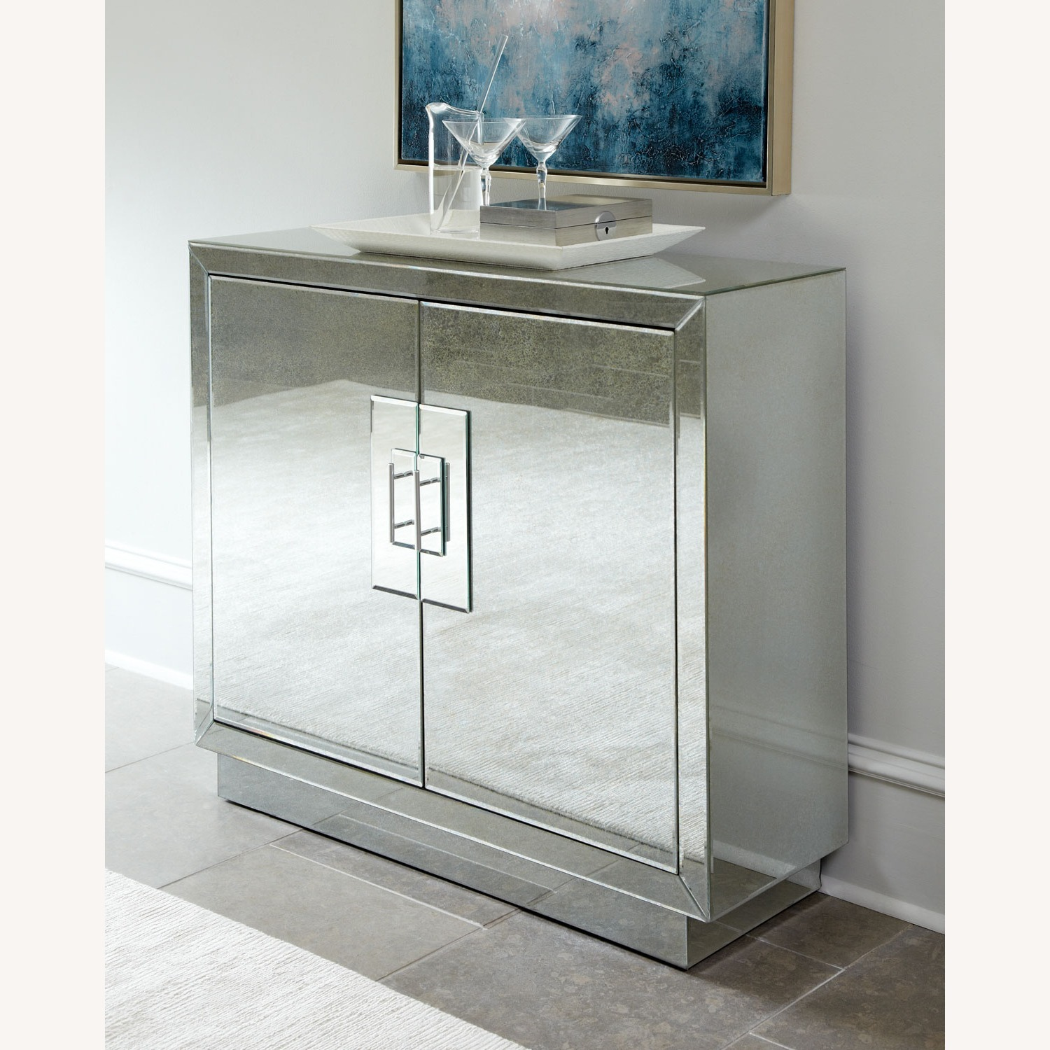 Horchow Lily Mirrored Contemporary Cabinet - image-0