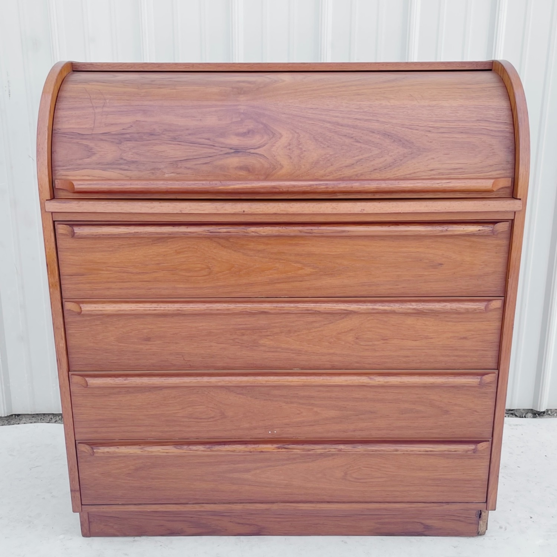 Vintage Modern Roll Top Teak Desk - image-21