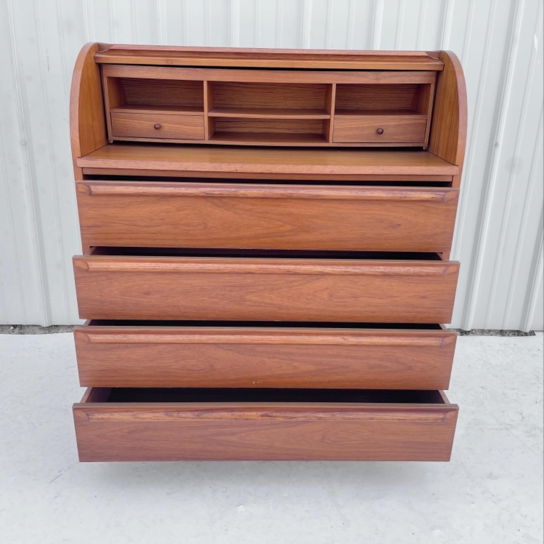 Vintage Modern Roll Top Teak Desk - image-8