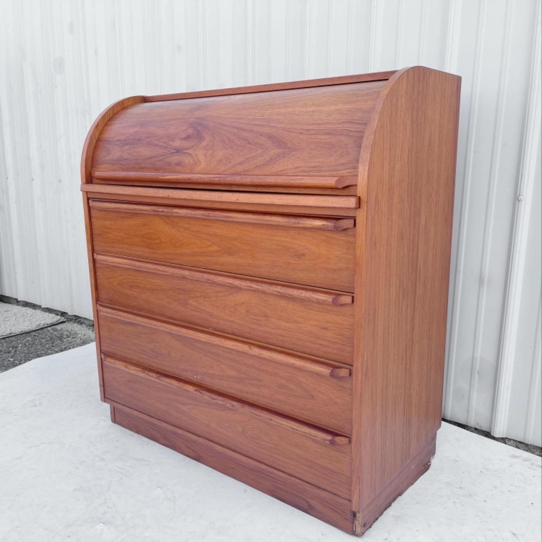 Vintage Modern Roll Top Teak Desk - image-4