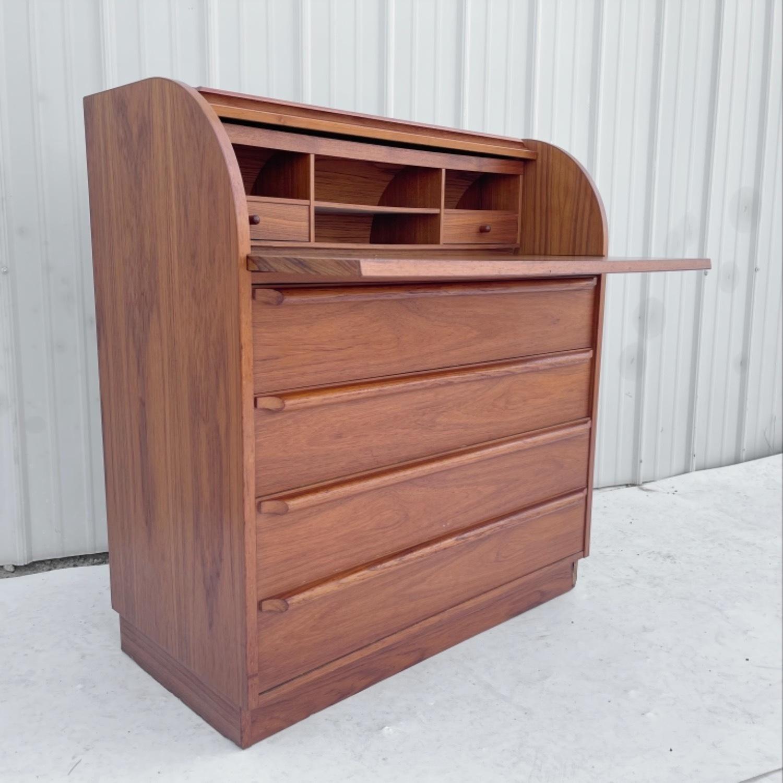 Vintage Modern Roll Top Teak Desk - image-0