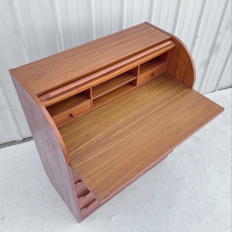 Vintage Modern Roll Top Teak Desk - image-5