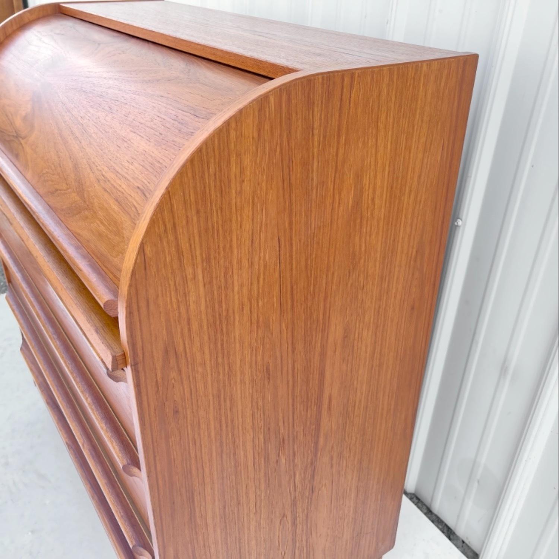 Vintage Modern Roll Top Teak Desk - image-10