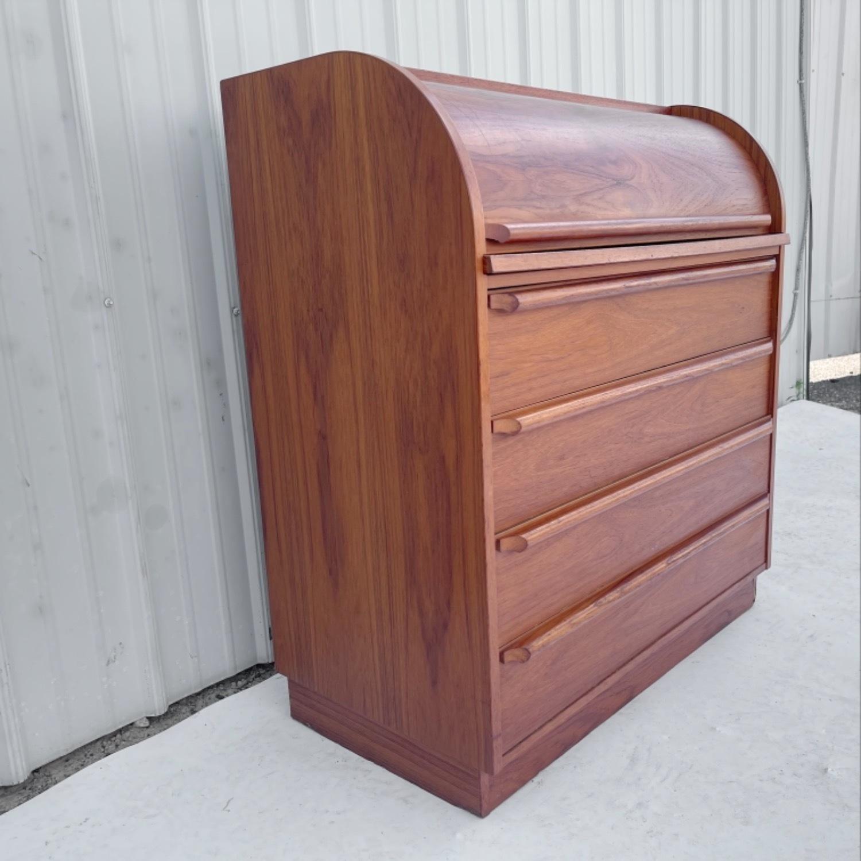Vintage Modern Roll Top Teak Desk - image-14