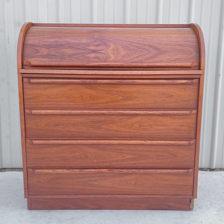 Vintage Modern Roll Top Teak Desk - image-1