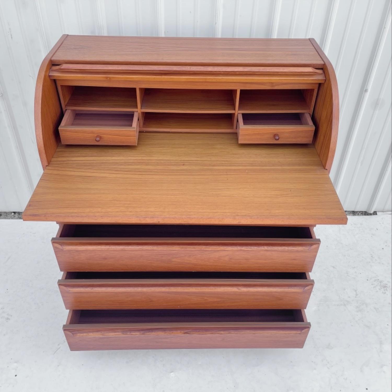 Vintage Modern Roll Top Teak Desk - image-2
