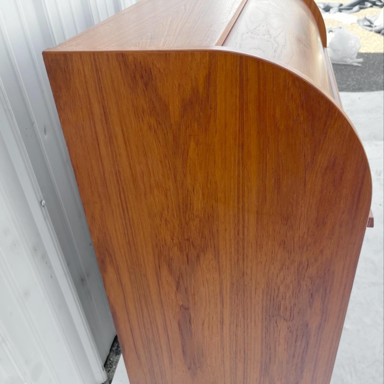 Vintage Modern Roll Top Teak Desk - image-13