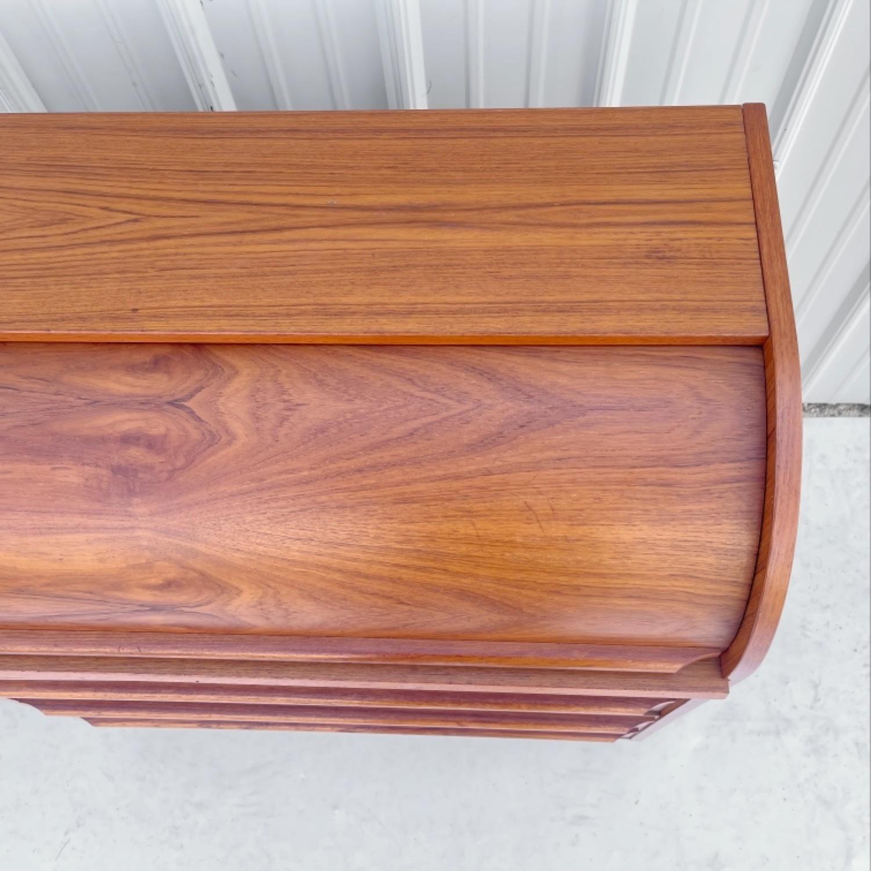 Vintage Modern Roll Top Teak Desk - image-20