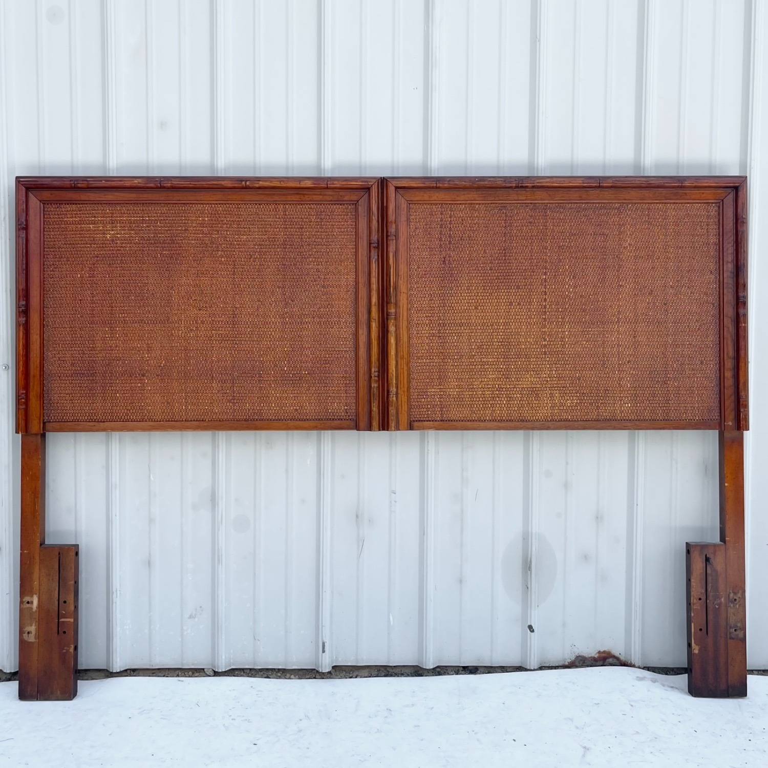 Vintage Modern Faux Bamboo Queen Headboard - image-11
