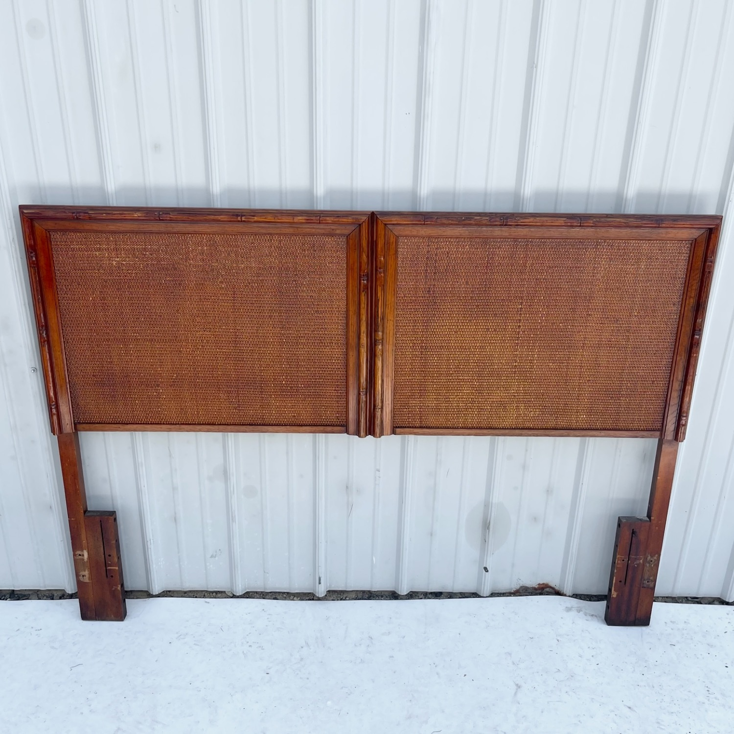 Vintage Modern Faux Bamboo Queen Headboard - image-1
