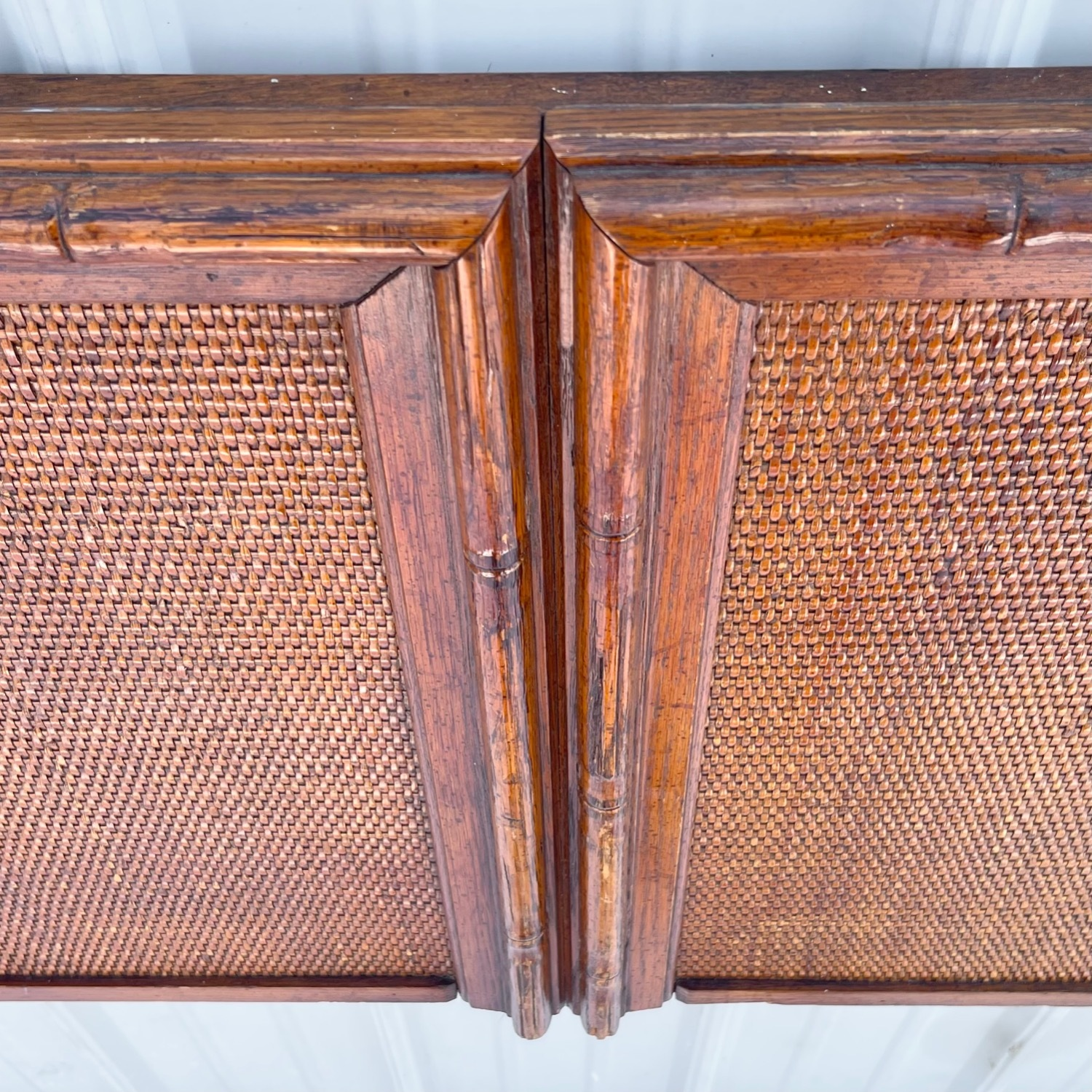Vintage Modern Faux Bamboo Queen Headboard - image-12