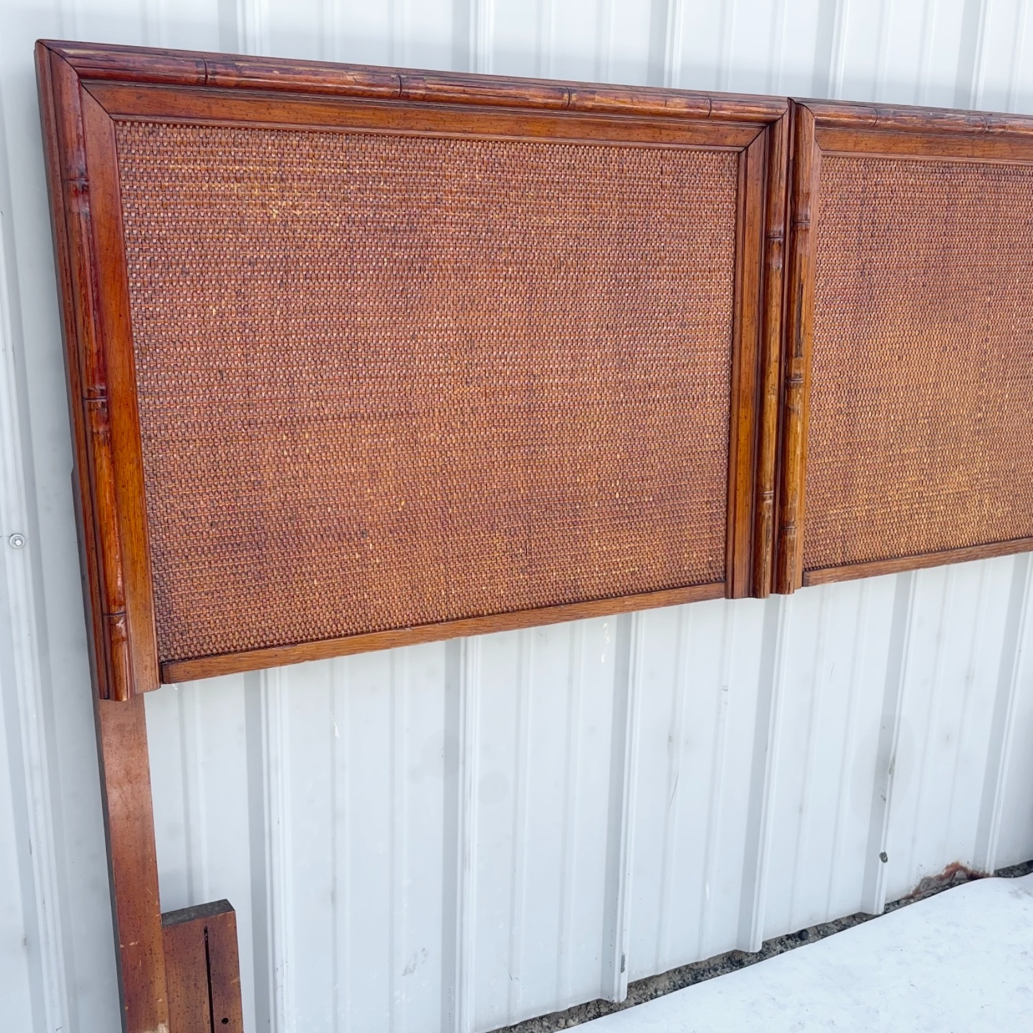 Vintage Modern Faux Bamboo Queen Headboard - image-2