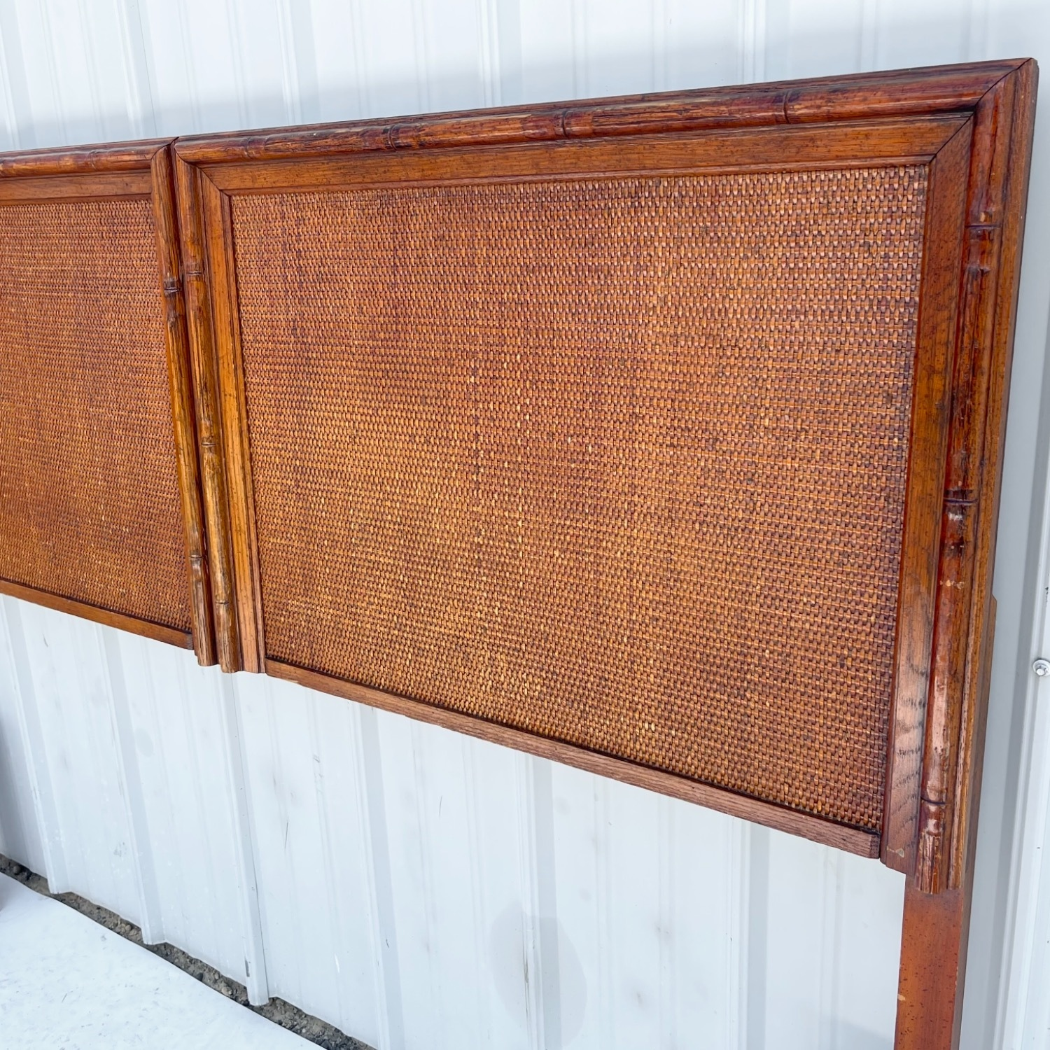 Vintage Modern Faux Bamboo Queen Headboard - image-3