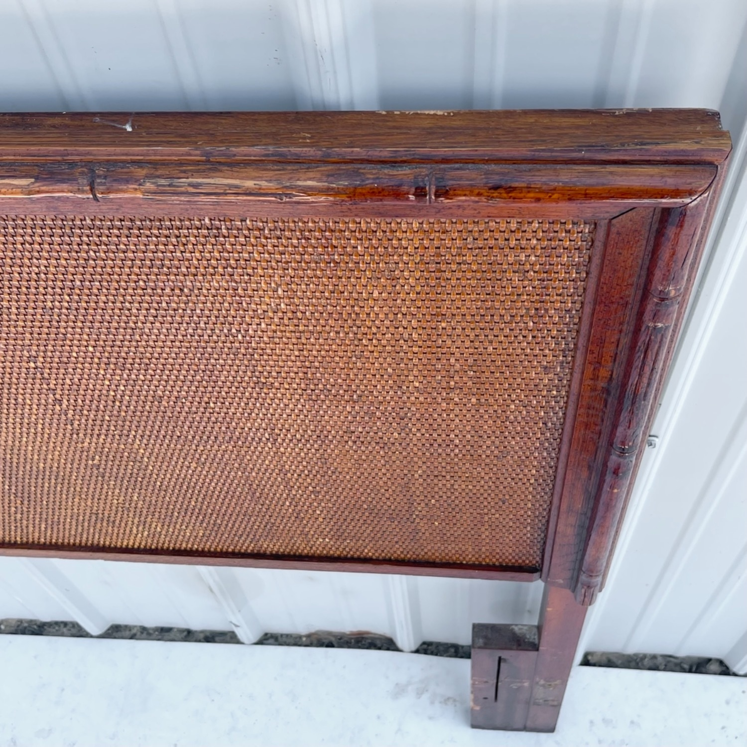 Vintage Modern Faux Bamboo Queen Headboard - image-4