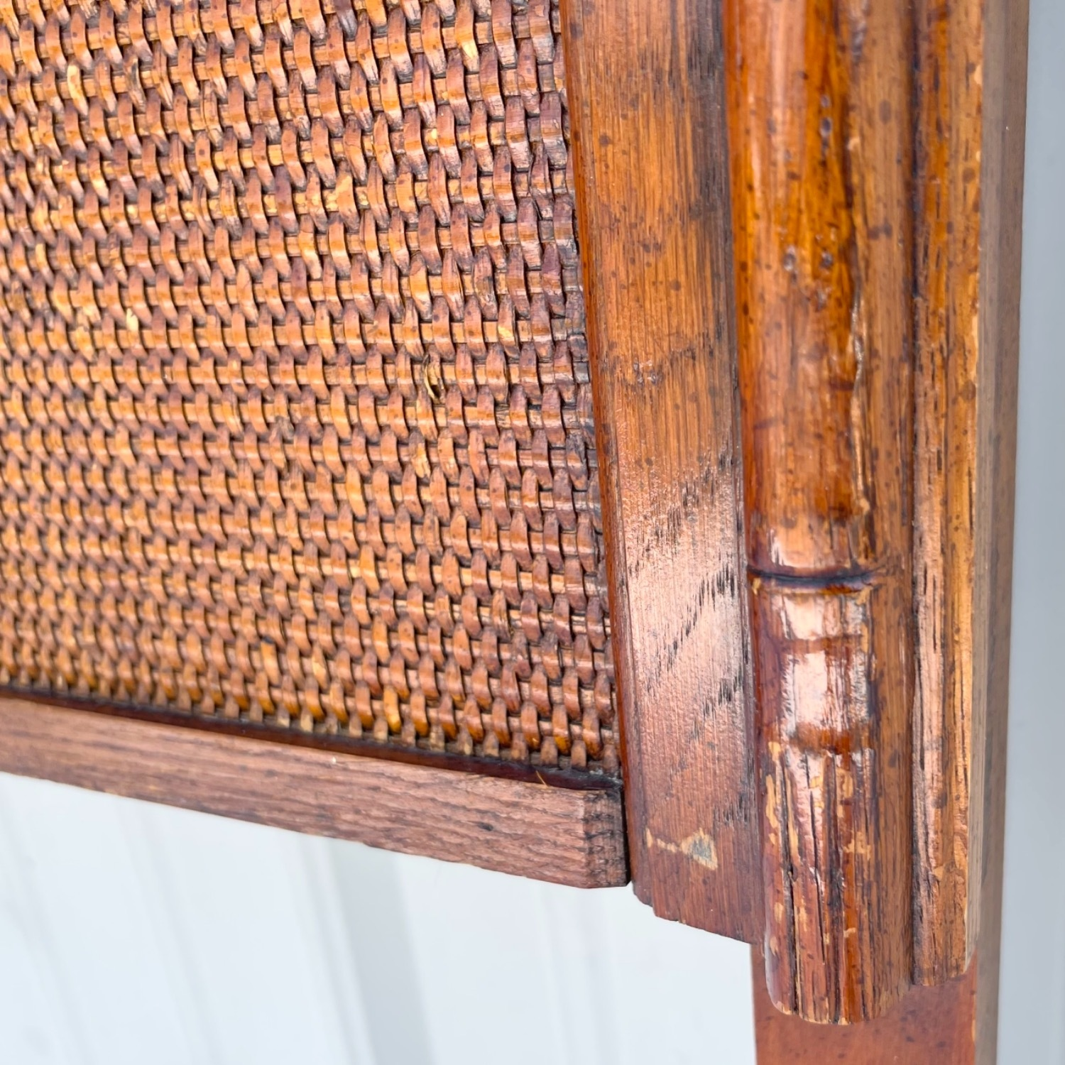 Vintage Modern Faux Bamboo Queen Headboard - image-6