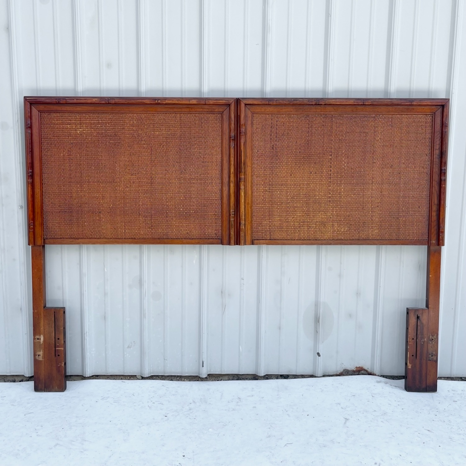 Vintage Modern Faux Bamboo Queen Headboard - image-0