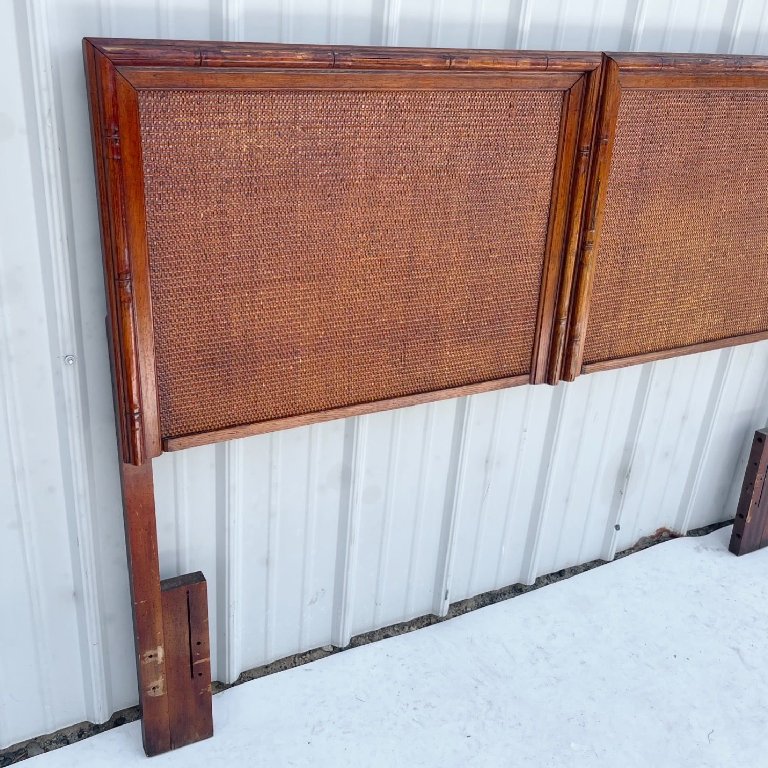 Vintage Modern Faux Bamboo Queen Headboard - image-9