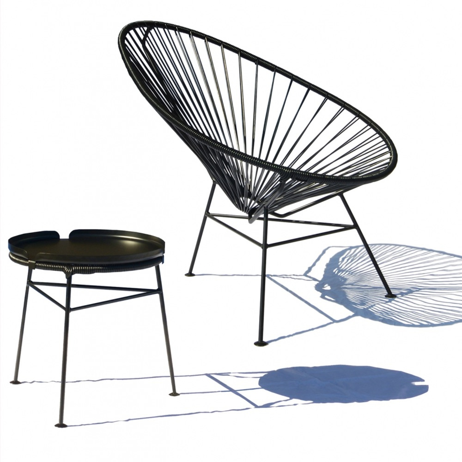 Crate & Barrel Black Spindle Lounge Chair - image-4