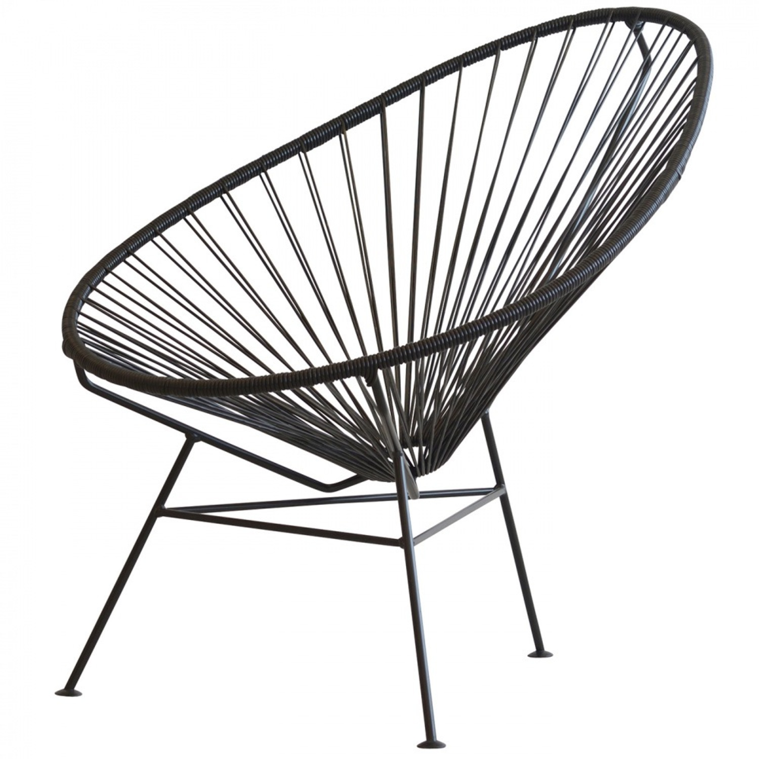 Crate & Barrel Black Spindle Lounge Chair - image-5