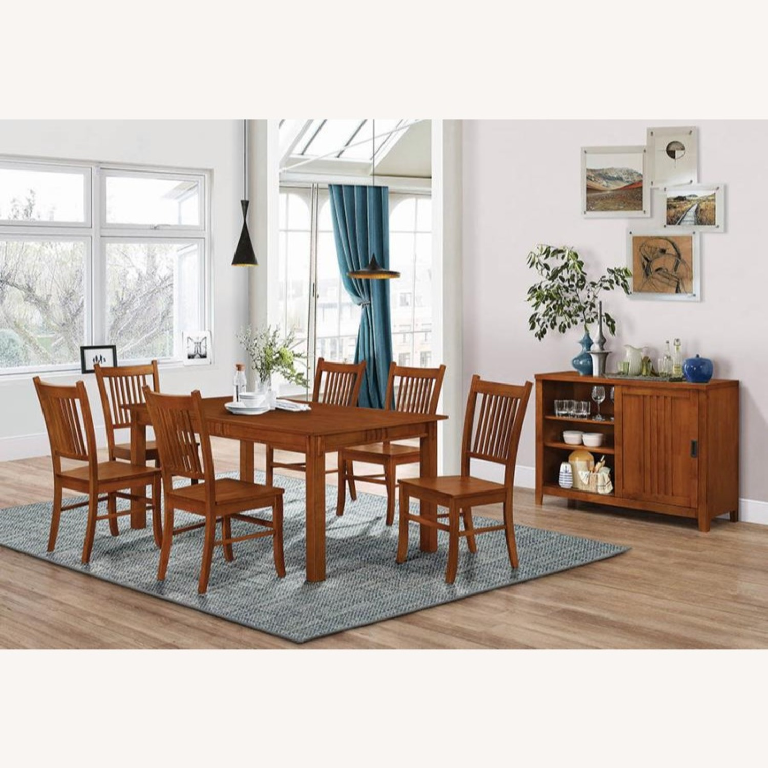 Dining Table In Hardwood Sienna Brown Finish - image-4