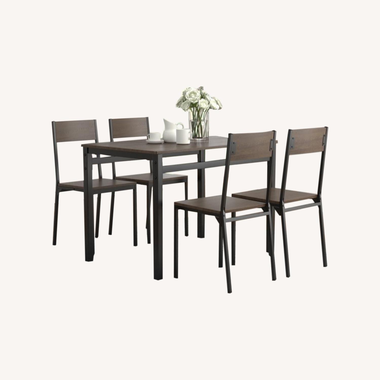 5-Piece Dining Set In Dark Brown & Matte Black - image-4