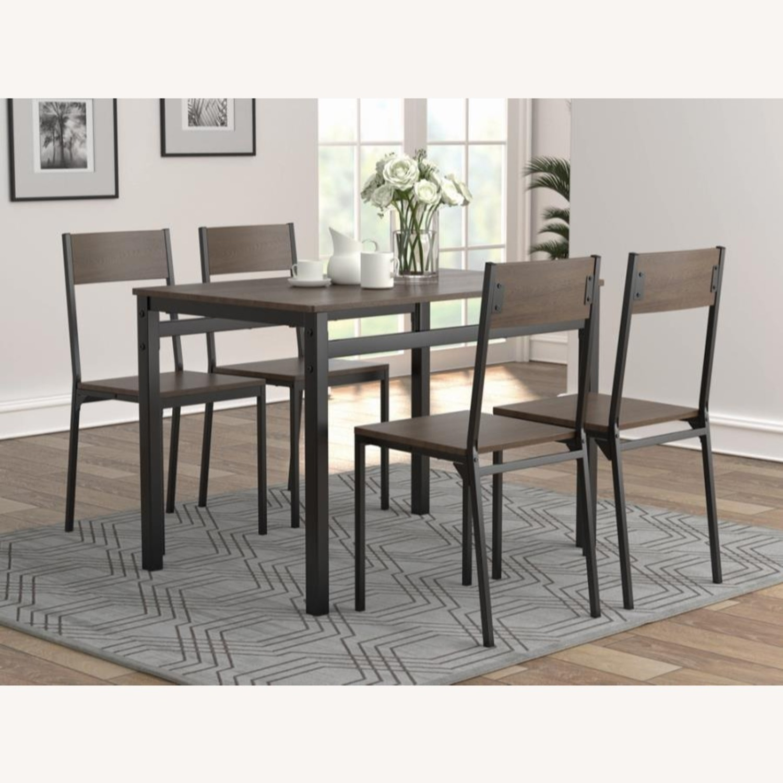 5-Piece Dining Set In Dark Brown & Matte Black - image-0