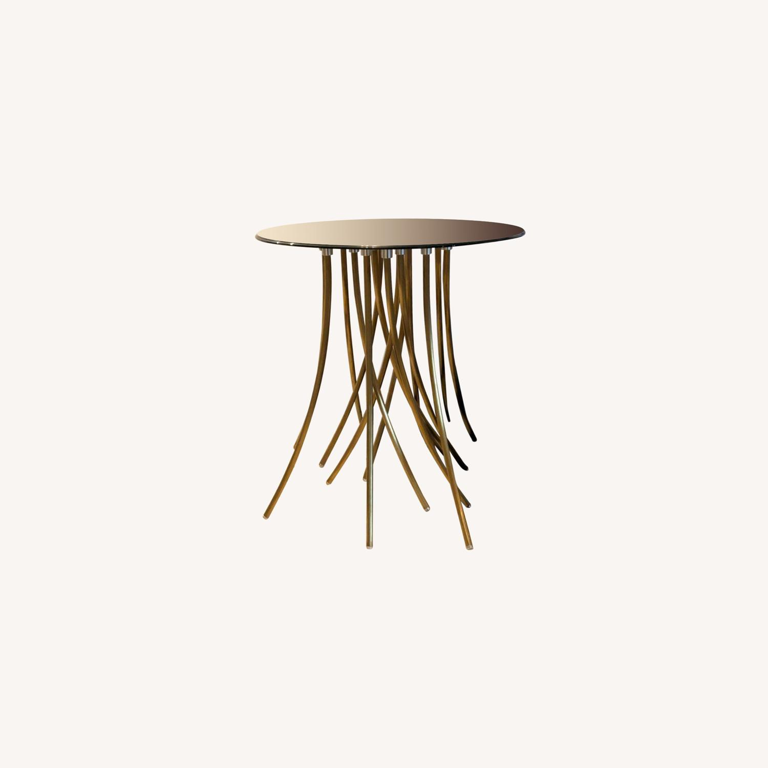 Glass Top Side Table with Brass Base - image-0