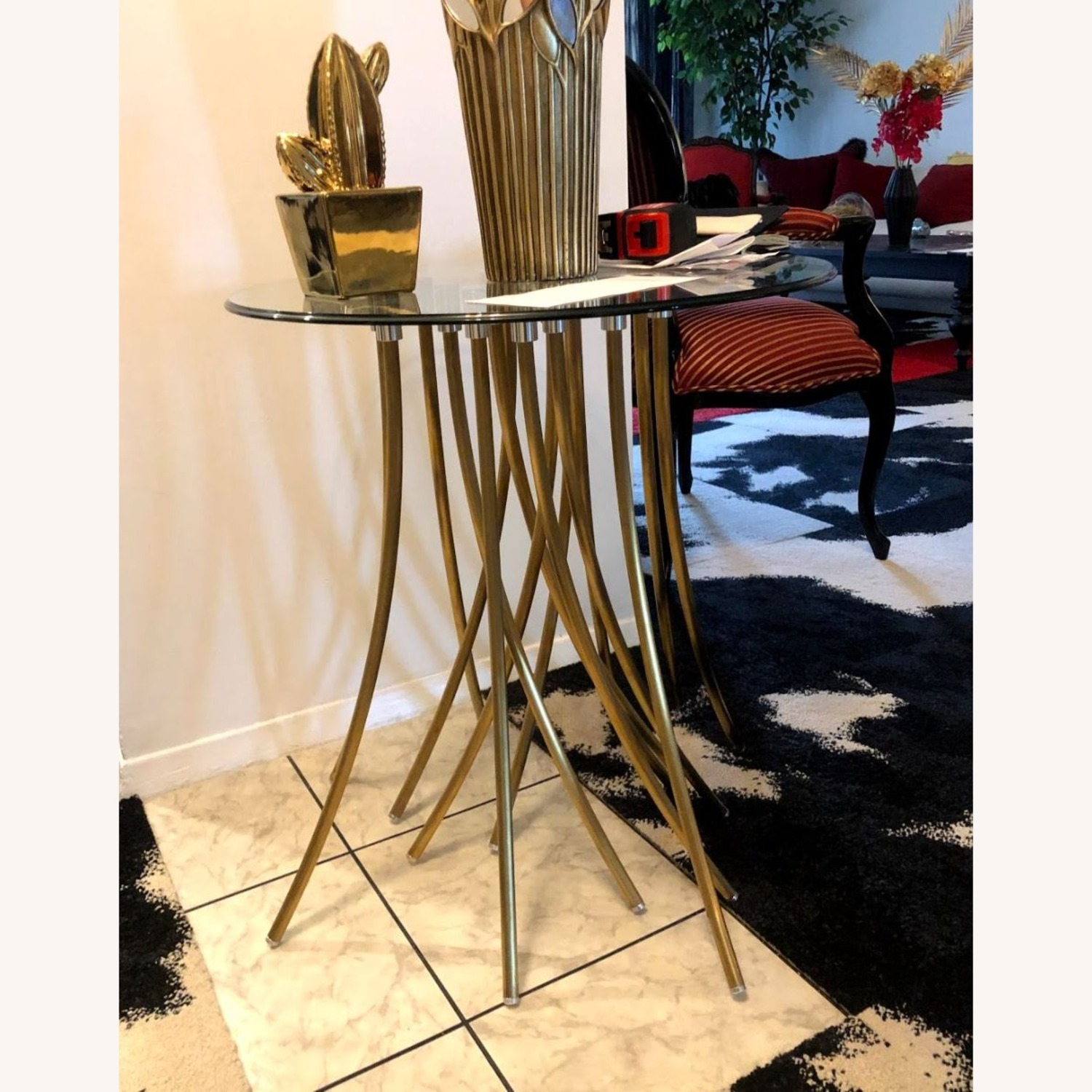 Glass Top Side Table with Brass Base - image-2