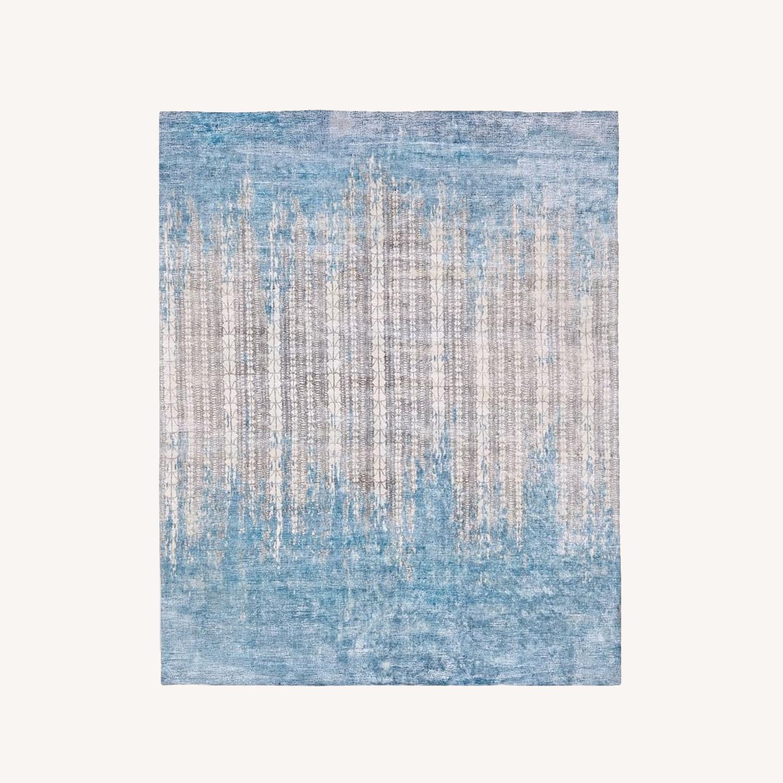 West Elm Echo Print Rug, Dusty Blue, 8'x10' - image-0