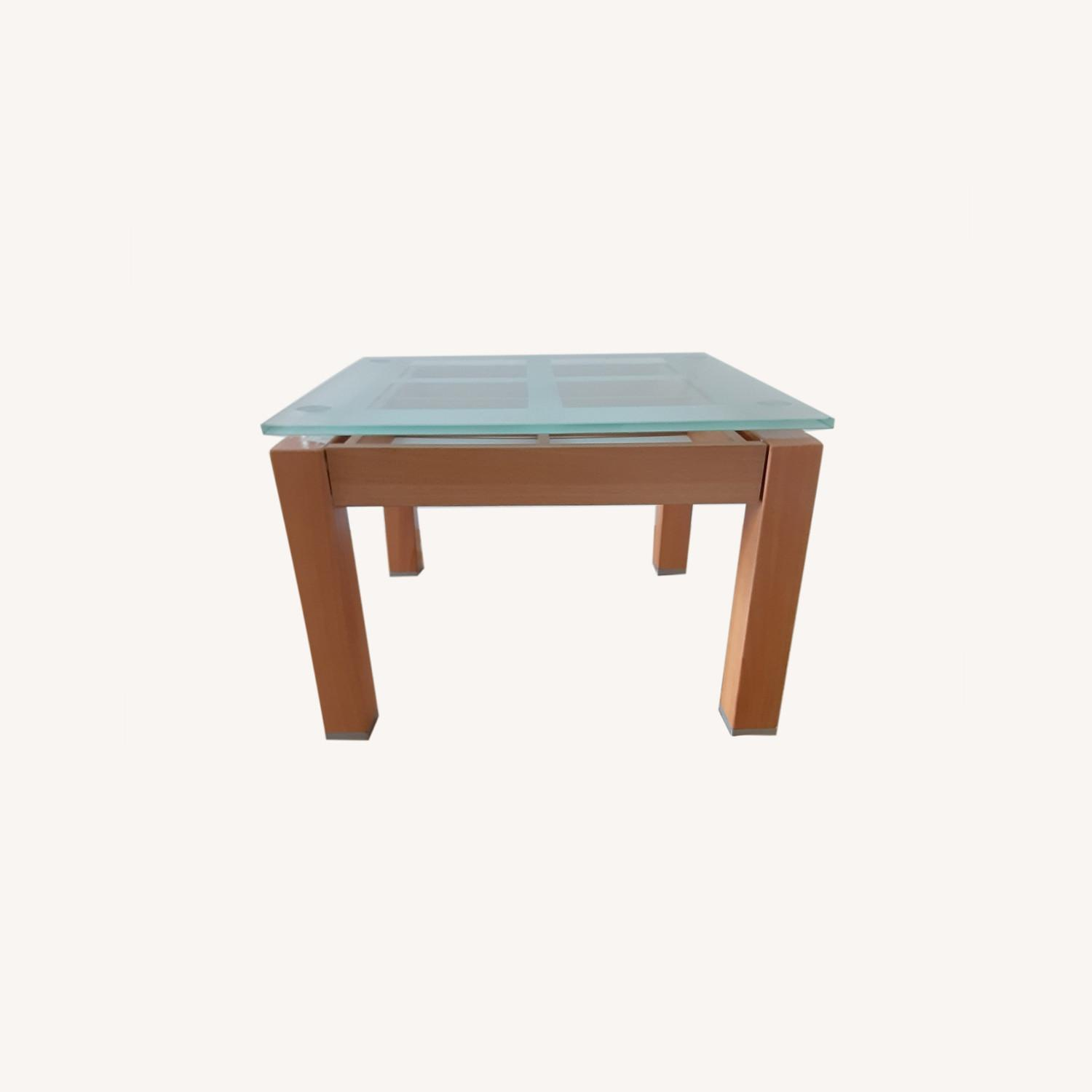 Cherry Wood Glass Top Side Table Set. - image-0