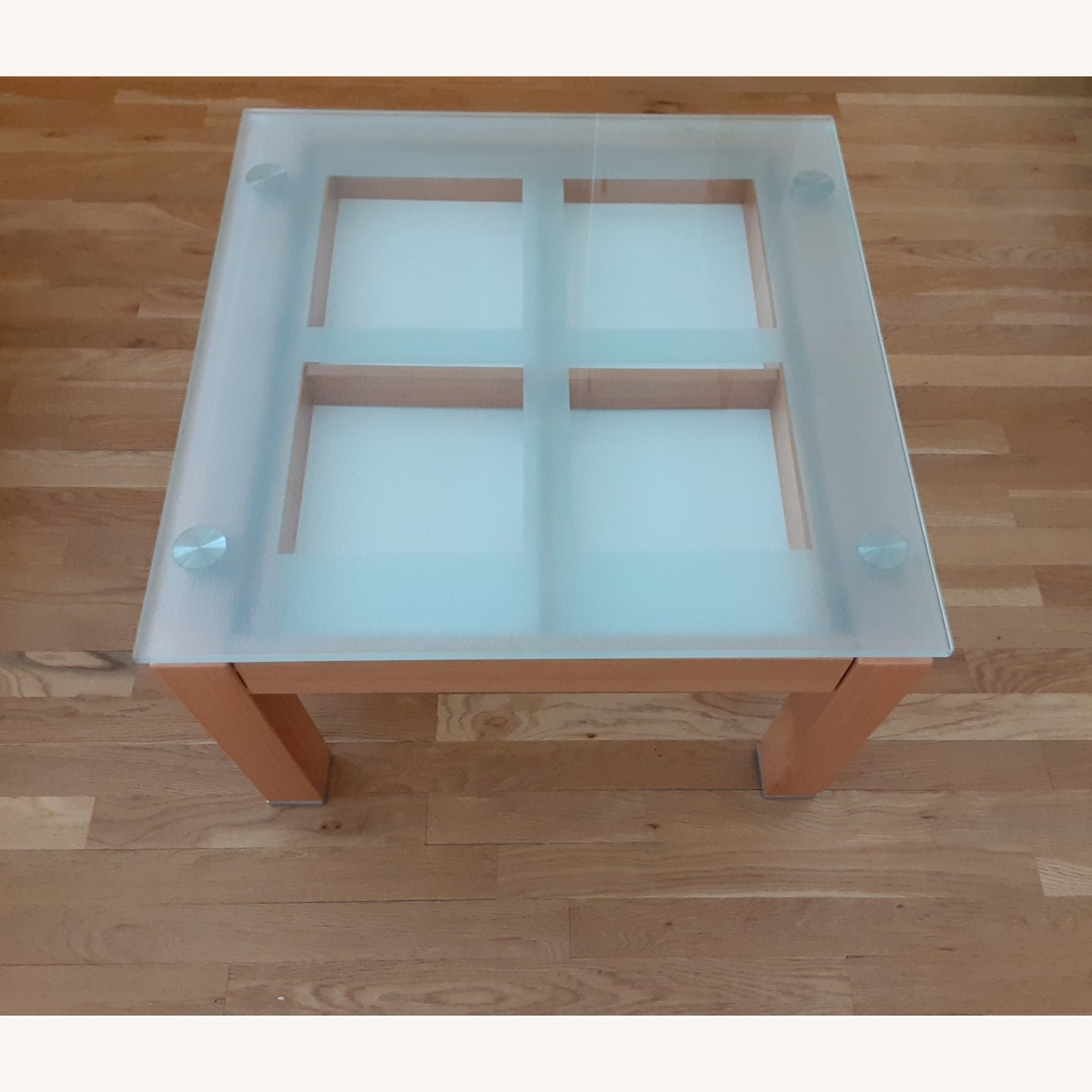 Cherry Wood Glass Top Side Table Set. - image-2