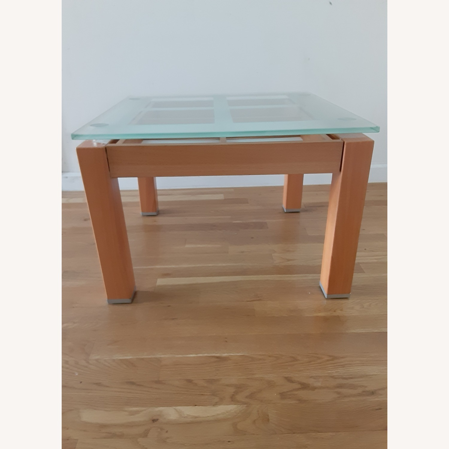 Cherry Wood Glass Top Side Table Set. - image-3