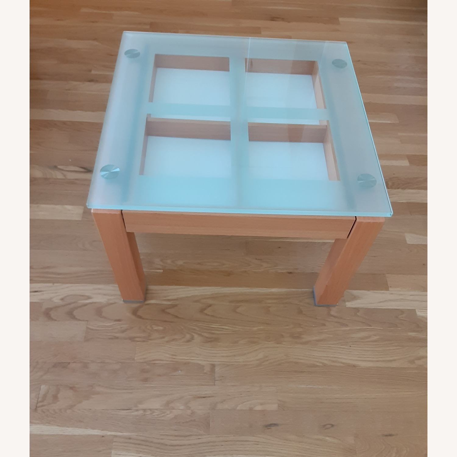 Cherry Wood Glass Top Side Table Set. - image-1