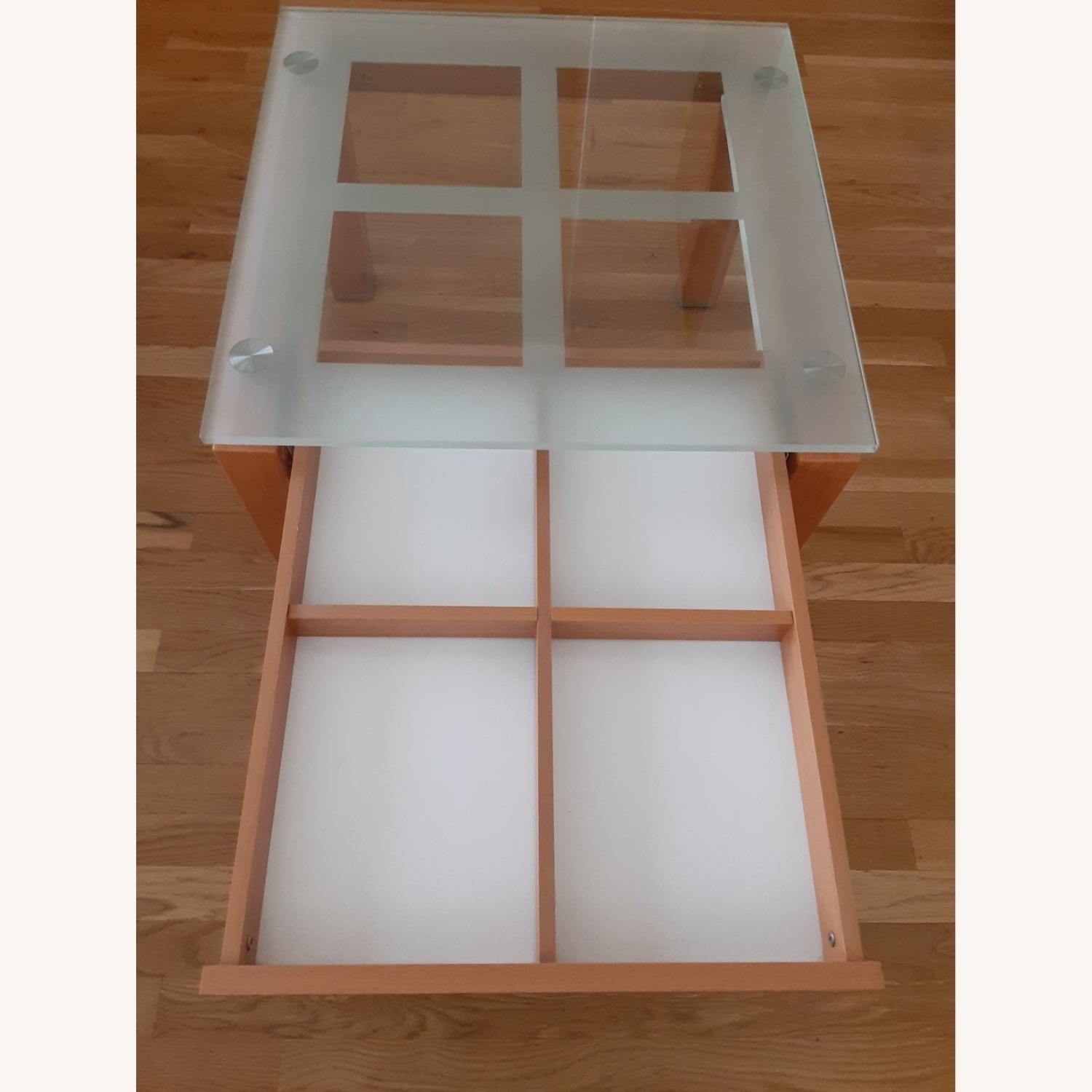 Cherry Wood Glass Top Side Table Set. - image-6