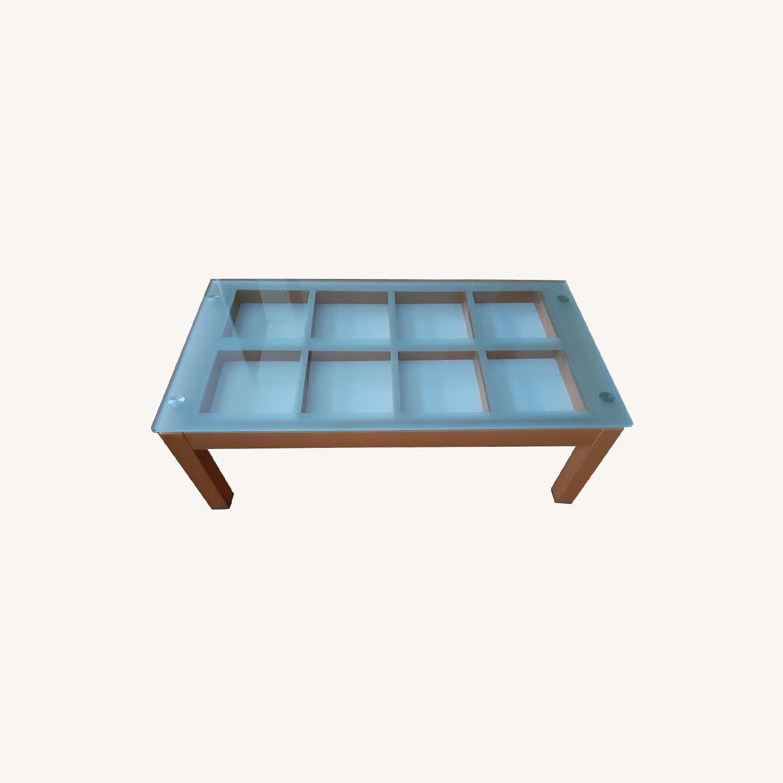 Cherry Wood Glass Top Coffee Table. - image-0