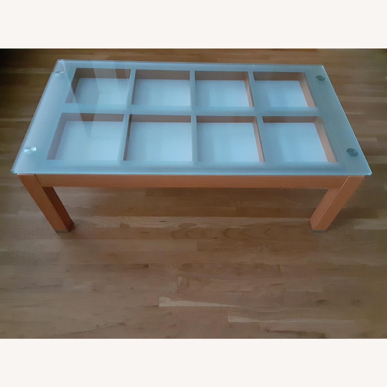 Cherry Wood Glass Top Coffee Table. - image-1