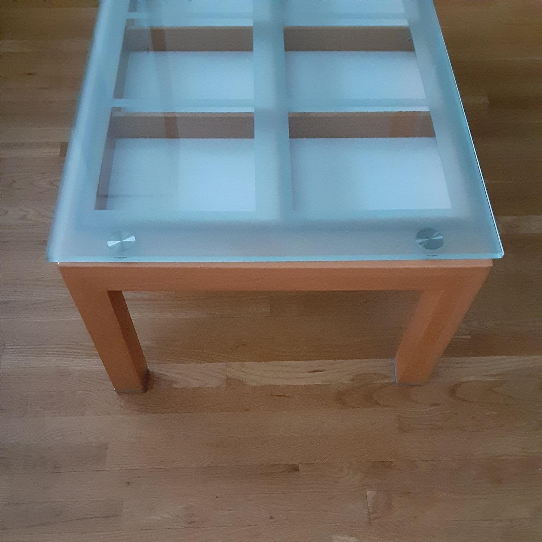 Cherry Wood Glass Top Coffee Table. - image-3