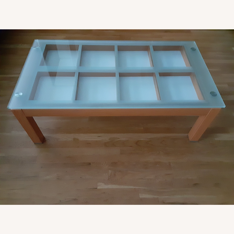 Cherry Wood Glass Top Coffee Table. - image-2