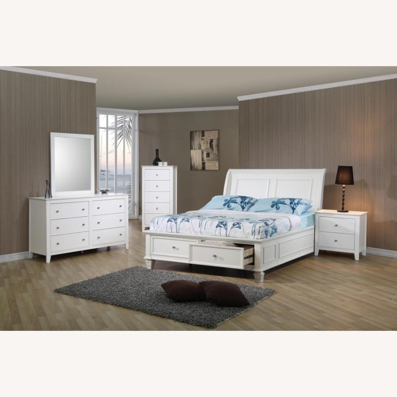 Full Storage Bed In White Coastal Design Finish - image-2