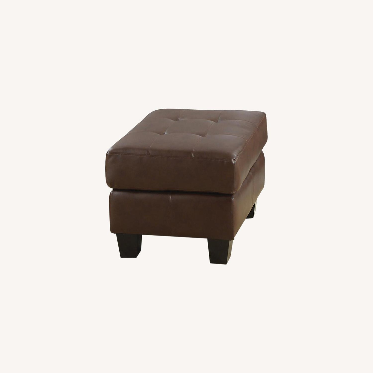 Ottoman In Brown Padded Breathable Leatherette - image-4