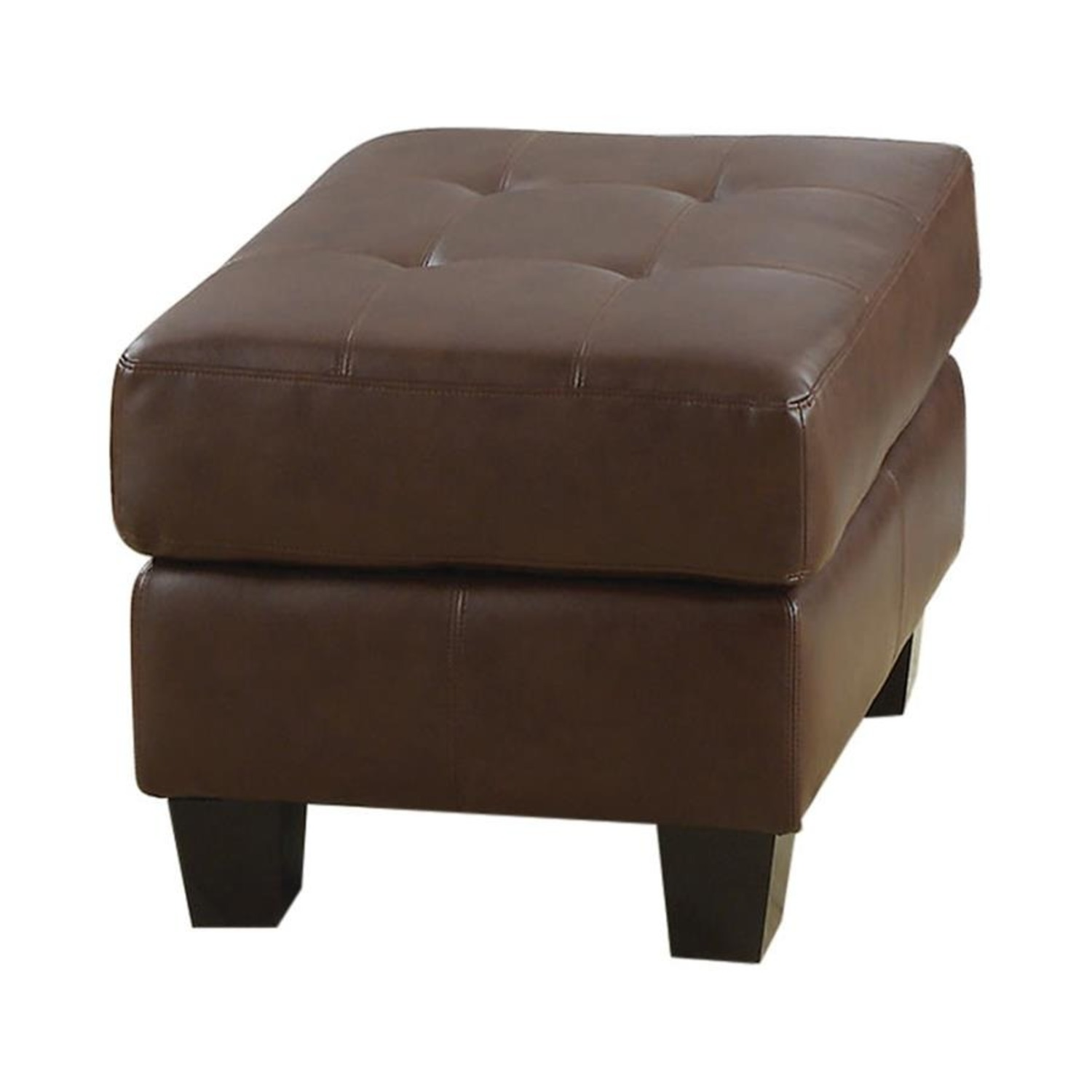 Ottoman In Brown Padded Breathable Leatherette - image-0
